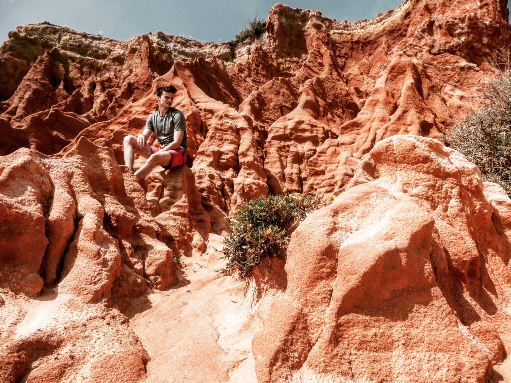 Wanderurlaub wandern Algarve rote steine Klippen Flora und Fauna