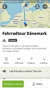 Komoot App Fahrradtour Route Dänemark