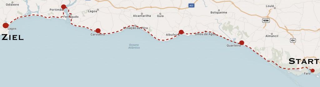 karte Route Algarve Wandern